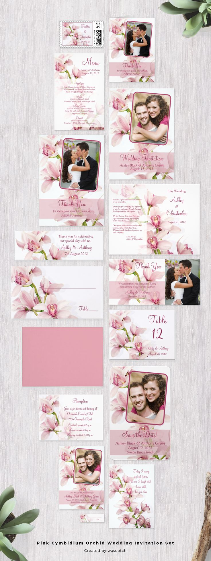 Pink cymbidium orchid tropical flower wedding invitation set. This orchid wedding invitation set has many matching items to choose from. Perfect for a tropical wedding or a wedding where orchids are used as the wedding flower.