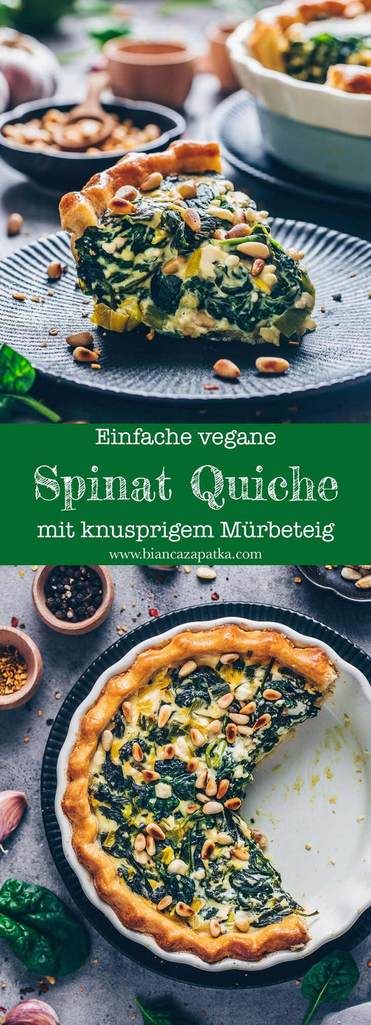 Vegane Spinat Quiche Rezept – einfach