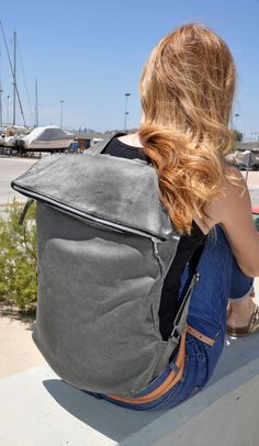 Minimal gray leather backbag by byCACHE on Etsy
