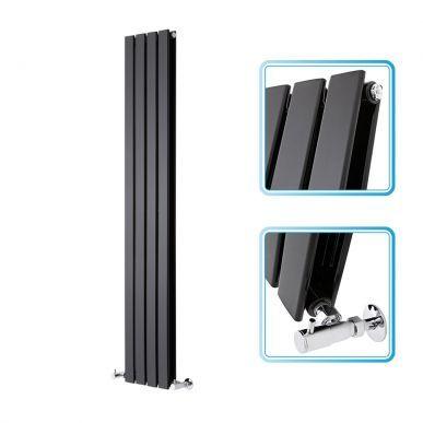1600mm x 280mm - Black Gloss Upright Double Panel Designer Radiator - Slimline Panels - Image 1