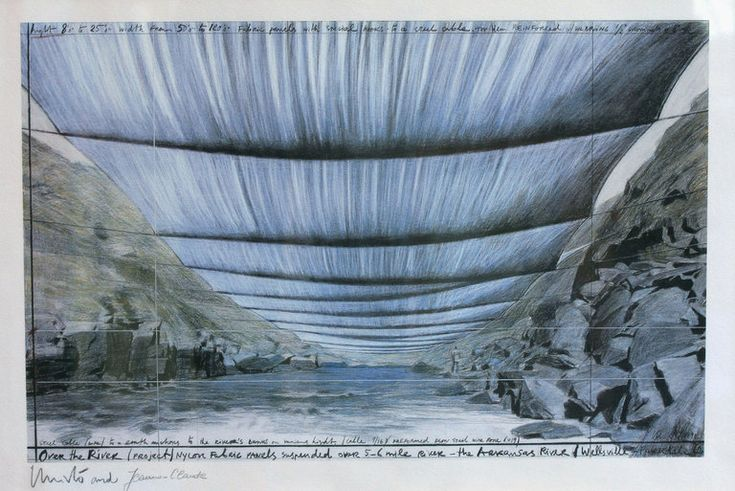 """A sketch of Christo's proposed artwork """"Over the River,"""" depicting a view from the Arkansas River. Christo, Trump and the Art World's Biggest Protest Yet - The New York Times"""
