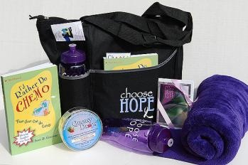 Chemotherapy Tote - great idea. A bag, water bottle, blanket and more.