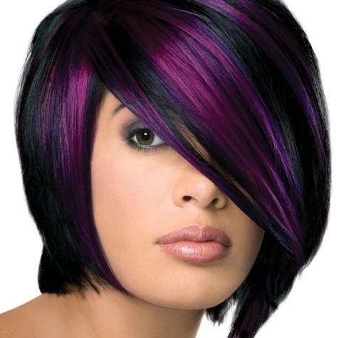 Purple lights!Purple Streaks, Purple Hair, Hair Colors, Dark Hair, Haircolor, Black Hair, Purple Highlights, Wigs, Bright Colors