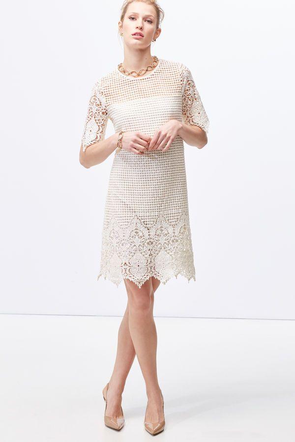 Cortefiel Guipure tunic dress White