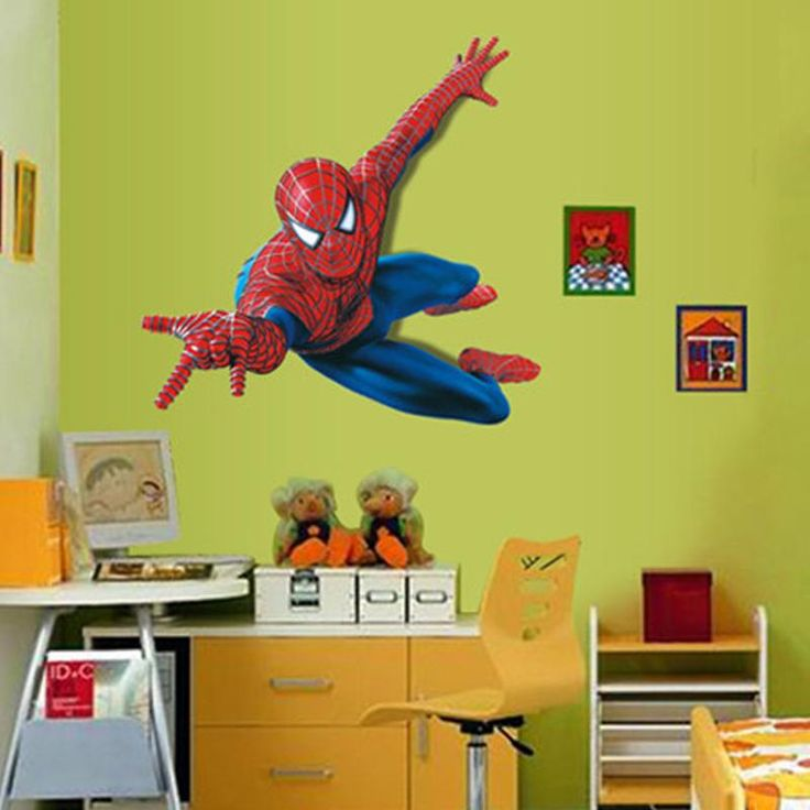 [Visit To Buy] Hot Vinyl Removable Spiderman Wall Sticker For Kids Room  Decorative Adesivo De Parede Removable Pvc Wall Decal Awesome Ideas
