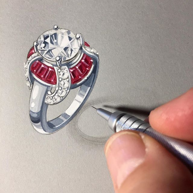 This new Flowing #ruby #affordableluxury is part of my #remyforbellaluce collection on #jtv. #jtvjewelrylove #showmeyourrings I enjoyed watching the model maker making the rubies go up and down on this design, and the stone setter after that! #lovesilver #julybirthstone #remyrotenier #accessibleluxury #jewelryillustration