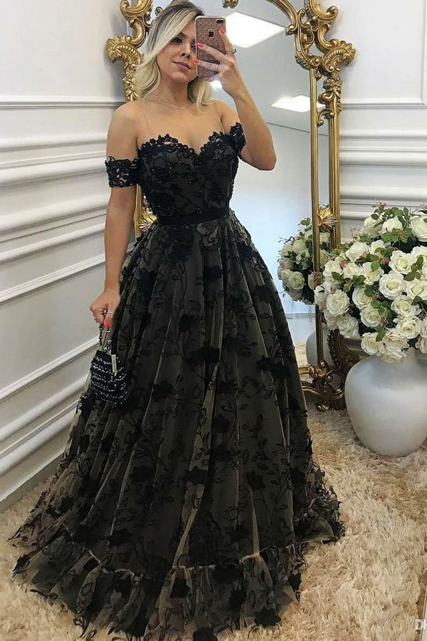chic black off shoulder prom party dresses with appliques, elegant formal lace gowns for special occasion.