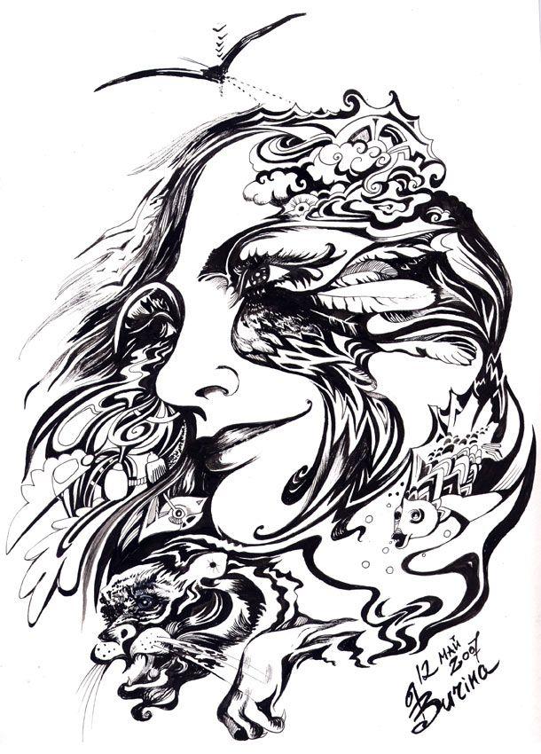 Ingart studio Ink on paper, by Inga Burina #elementEdenArtsearch