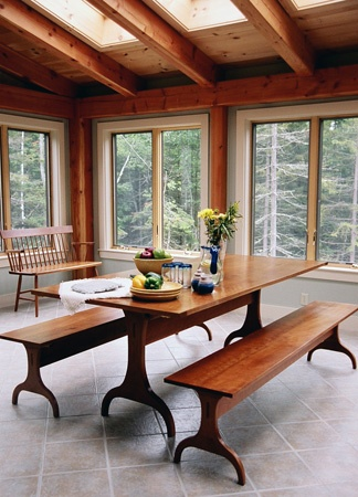 Shaker-style table; would be really nice for a breakfast area. Would also love additional skylights.