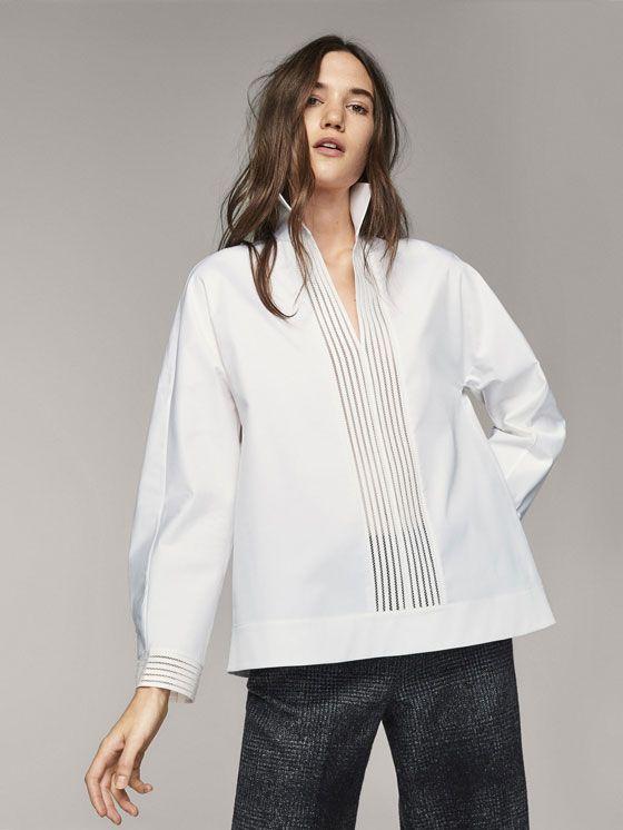 Las blusas y camisas de mujer más elegantes en Massimo Dutti. Descubra  blusas de seda 6642862398527