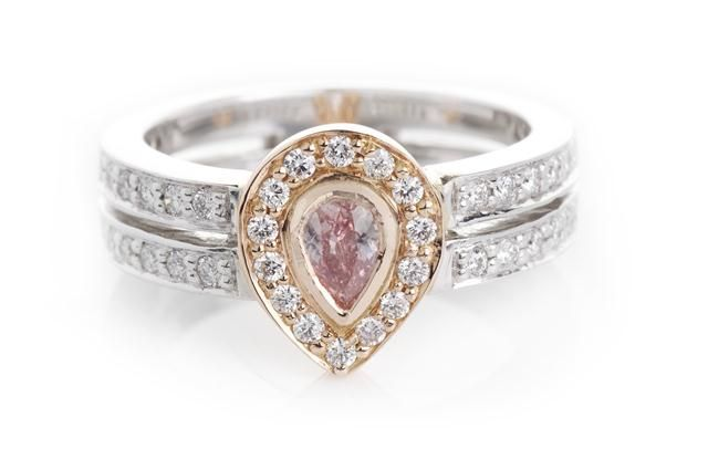 Argyle Pink Pear Diamond Halo set design. in 18 ct white and rose gold