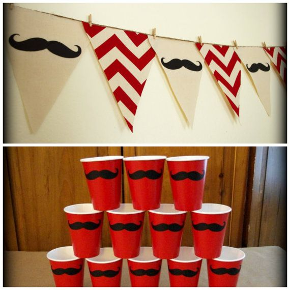Red+Chevron+print+Mustache+Banner+and+12+Cups+by+ImSeriouslyJoking,+$32.00