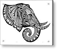 zentangle animals | Zentangle Animal Acrylic Prints - Elegant Elephant Acrylic Print by ...