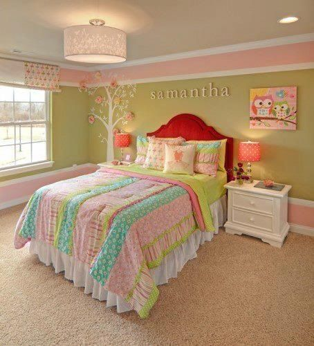 Pastels are a classic combination for girls décor. The added bright red headboard is a great accent!
