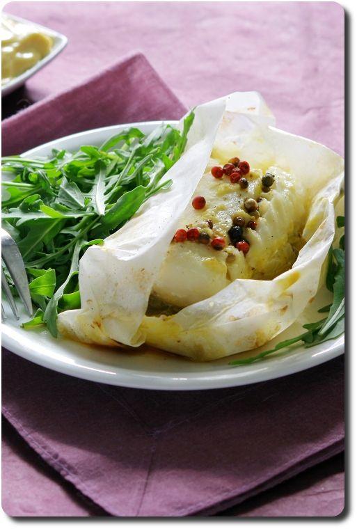 Papillotes de cabillaud aux endives, mayonnaise et 5 baies