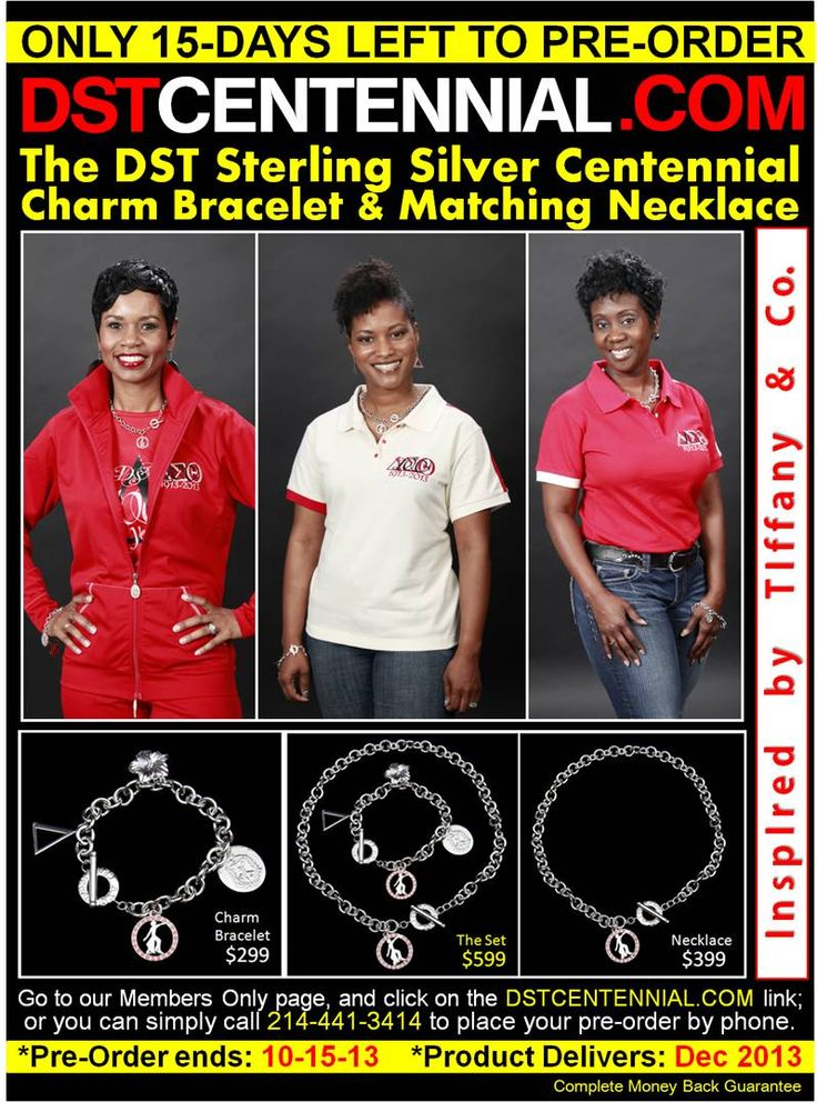 Only 15 Days left to order your DST Charm set collection. Purchase as a gift for a special soror. A precious symbol of sisterhood.   DONT WAIT!!! Get YOURS today BEFORE the pre-order period ends-- October 15th.   Visit: https://www.dstcentennial.com/shop/index.php?p=catalog&parent=7&pg=1  #DST #REDALERT #DELTASIGMATHETA