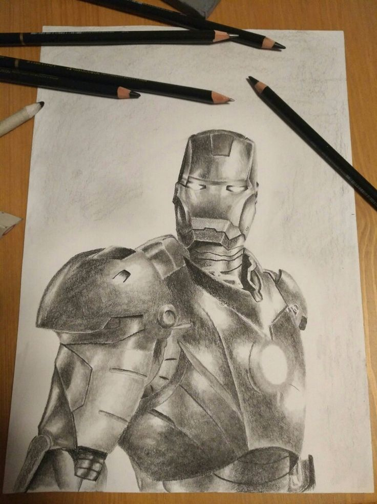 Iron man pencil drawing