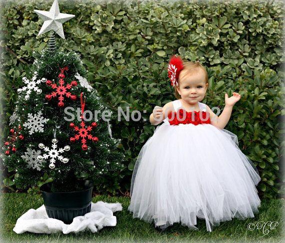Симпатичный Белый и Красный Спагетти Ремень Цветок Лиф Паффи Бальное платье Туту Платья
