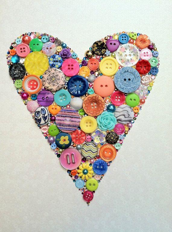 Heart Art Button & Swarovski Rhinestones Button by BellePapiers, $84.00