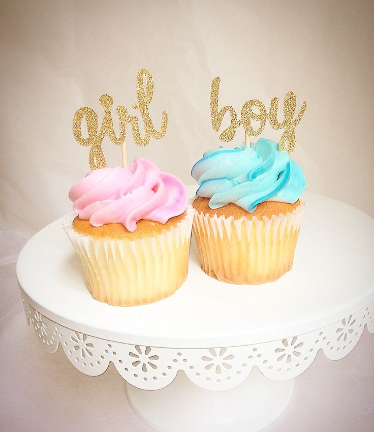 Gender reveal cupcake toppers-gender reveal party decor-boy or girl-girl or boy-baby- girl-boy- gold glitter toppers- READ DESCRIPTIONS by Torisshoppe on Etsy
