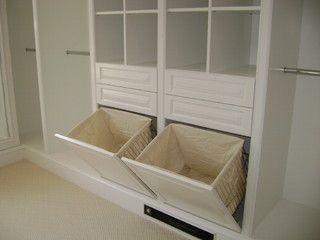 Laundry baskets hidden in the closet = less clutter, score!
