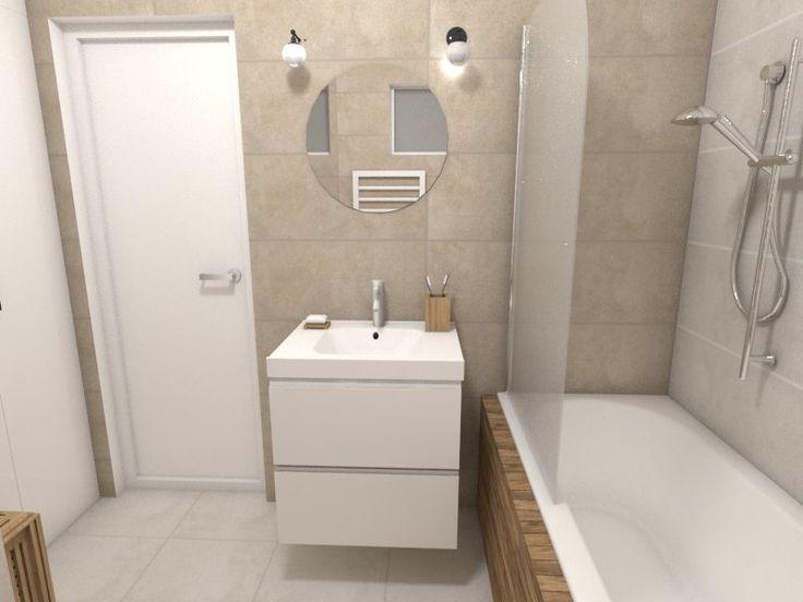 Malá paneláková kúpeľňa v prírodných farbách s vaňou a sprchovou zástenou