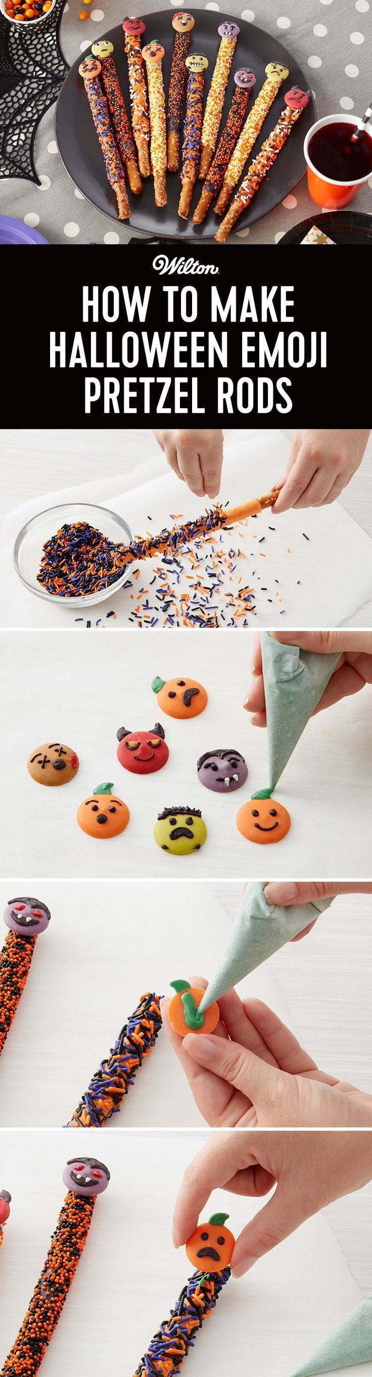 How to Make Halloween Emoji Pretzel Rods - Dip pretzel rods in melted Candy Melts candy and decorate festive Halloween sprinkles. Topped rods with cute Candy Melts candy monsters for a fun treat for kids and adults alike. Easy to make for decorators of all skill levels, these Halloween pretzel rods are a fun way to bring your favorite emojis to life!