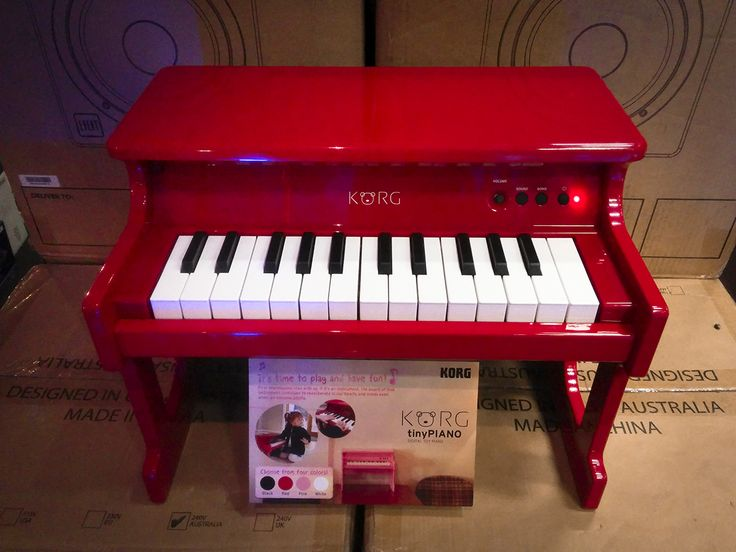 All it needs is a tiny tip jar and an itty-bitty little martini sitting on top. Korg TinyPiano 25 minikey digital piano in polished wood, available in black, pink, white and red. #korg #tinypiano