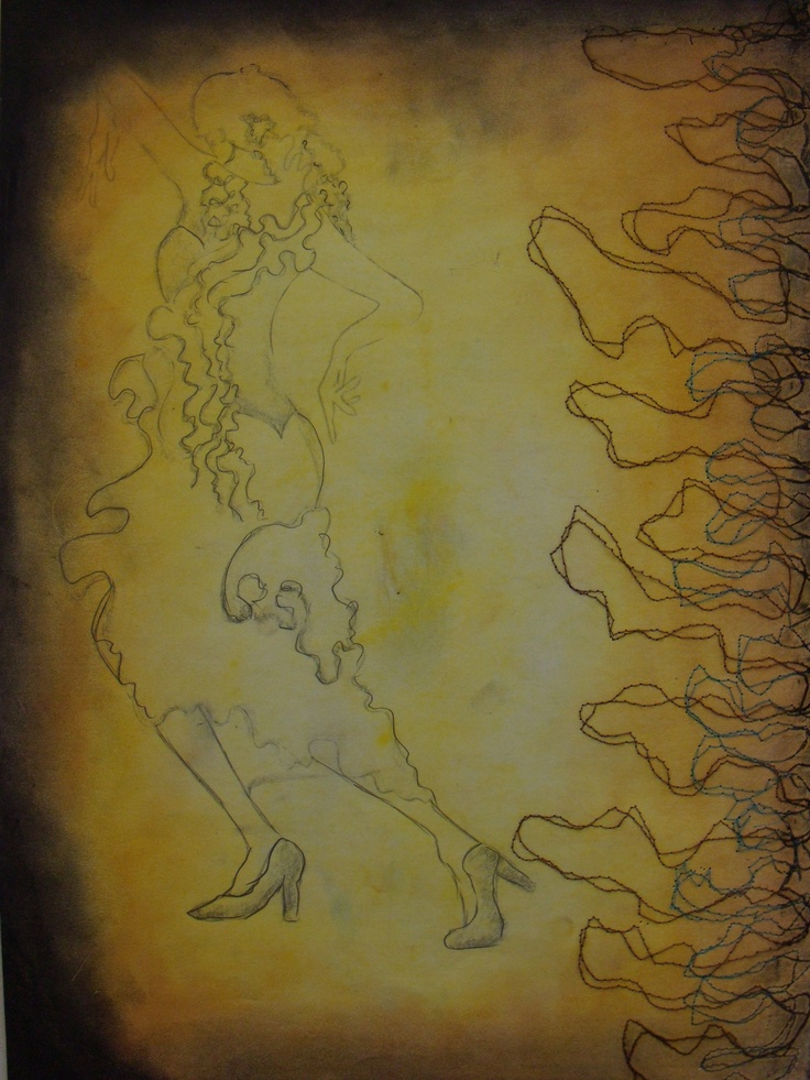 I created background by soft pastels- yellow, orange and black on edges (I really like that effect). And on right side I had to use free hand motion on sewing machine which I love. On first background I draw dancing girl with my poetic biology dress.
