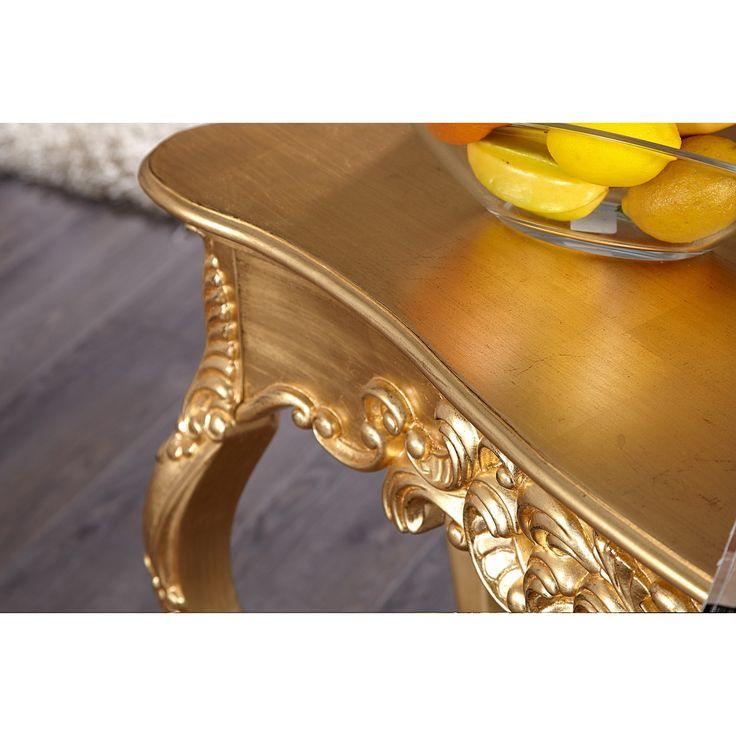 Toaletný stolík/Konzola 15633 Venice zlatá - Toaletný stolík/Konzola Venice zlatáRozmery: 110x35cmVýška: 75cmFarba: ZlatáMaterial: Drevo lakovanéOrnamenty na stolíku sú ručne dorábané, preto každý kus je unikát.