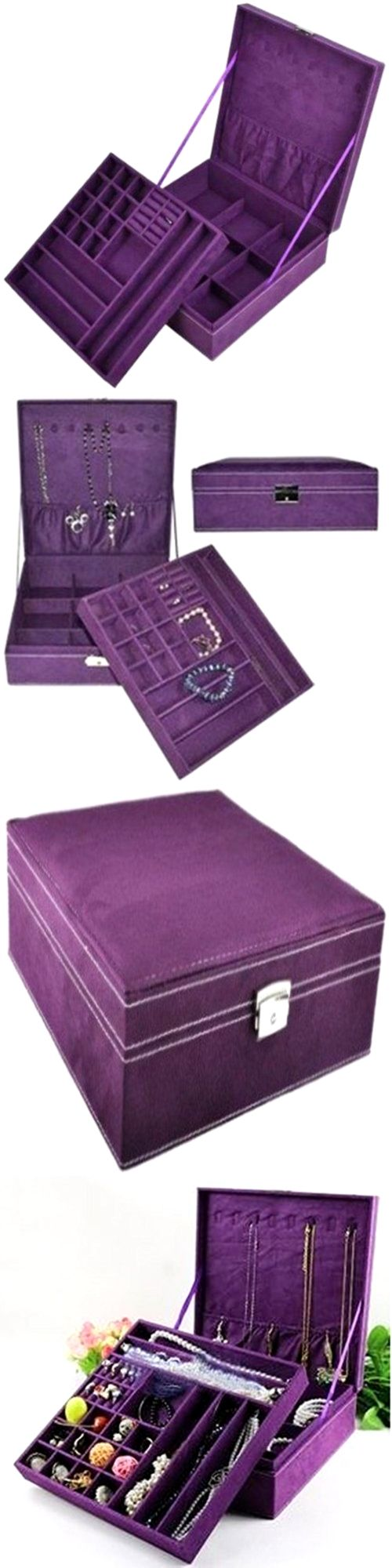 Multi-Purpose 168165: Jewelry Box Purple Storage Cabinet Organizer Necklace Chest Display Case Armoire BUY IT NOW ONLY: $50.46