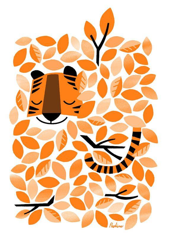 Hidden Tiger  A3 RISO print