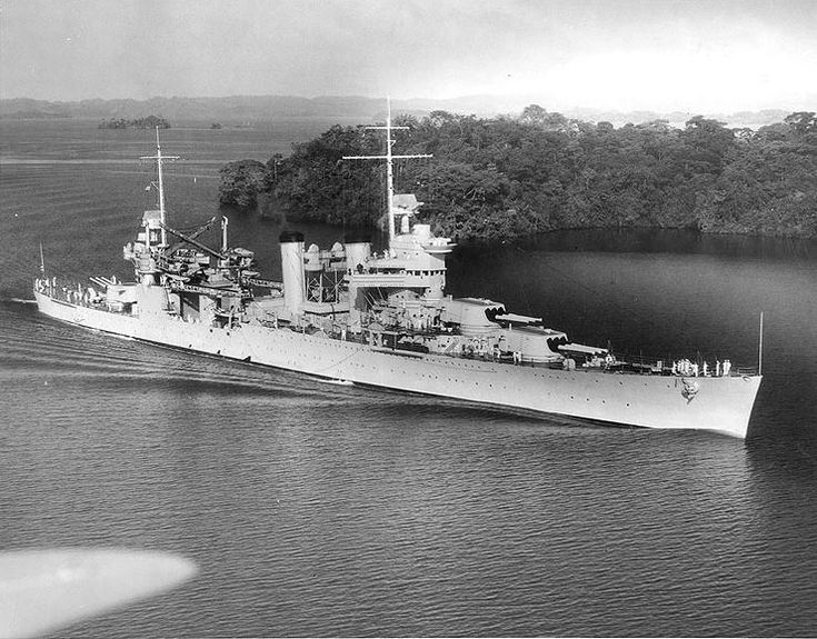 "USS ""Vincennes"" (CA-44). Last of 7 ""Astoria"" class heavy cruisers built between 1930 and 1937. These ships set the template for all subsequent USN heavy and light cruisers. Good ships, but, to comply with treaty limitations, underarmoured (compare with IJN ""Takao"" class). 10,000 tons, 3x3 8""in. 55 cal guns; 4 x 2 5"" 25 cal guns. 32.7 kts. ""Vincennes"" and 2 sisters (Quincy, CA-39, Astoria, CA-3) were sunk at the Battle of Savo Island, (8/9 Aug 1942) among the most lopsided defeats in USN…"