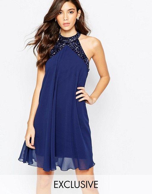 Lipsy   Свободное платье бэби‑долл с высокой горловиной и отделкой Lipsy