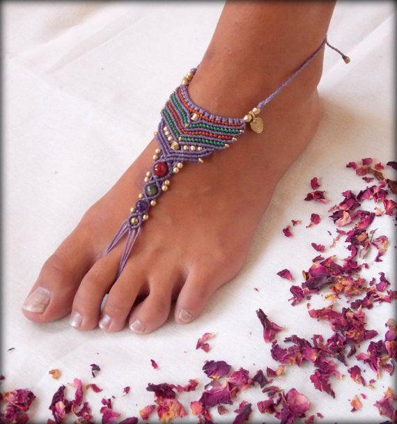Macramé et laiton nu-pieds sandale,, chaussures nue, bijoux de pied, bijoux de cheville de bellydance d'yoga sexy