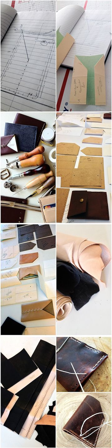 Small leather goods, how its made  1. Designing 2. Patterning making 3. Sample making and testing 4. Leather cutting 5. Stitch holes punching 6. Hand sewing 7. Burnish and finishing #leathergoods  #wallet  #leathertools