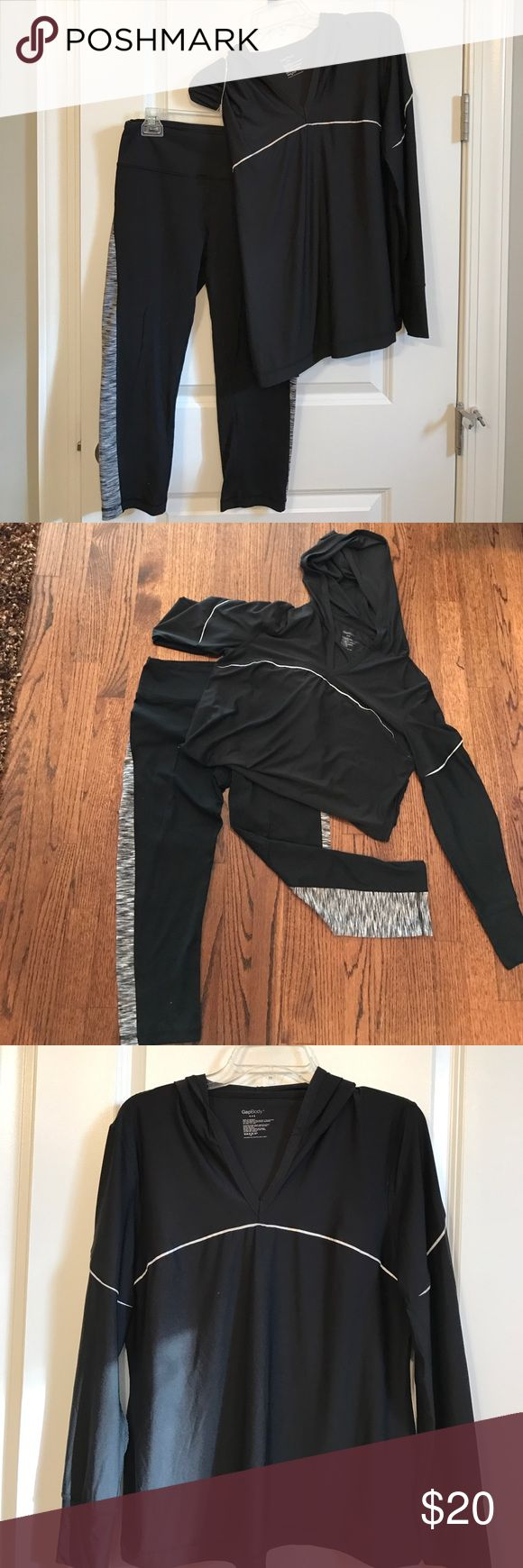 Gap Body dryfit shirt and 90 degrees workout pants NWOT Gap Body Long Sleeve Shirt with hood.  Black, Size L.  Extremely light weight so perfect over any workout tank!   Black and white workout pants that go past the knees, size M.                                                  Can be sold separately, just make me an offer! Pants Track Pants & Joggers
