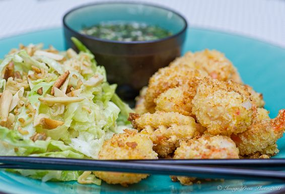 Panko Crusted Shrimp with Chili Garlic Glaze and Asian Slaw and a review of the Actifry Cooker | Bunkycooks