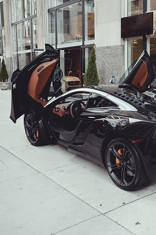 Beauty at it's best...Gorgeous black McLaren MP4-12C with a hint of chocolate brown interior! #carporn