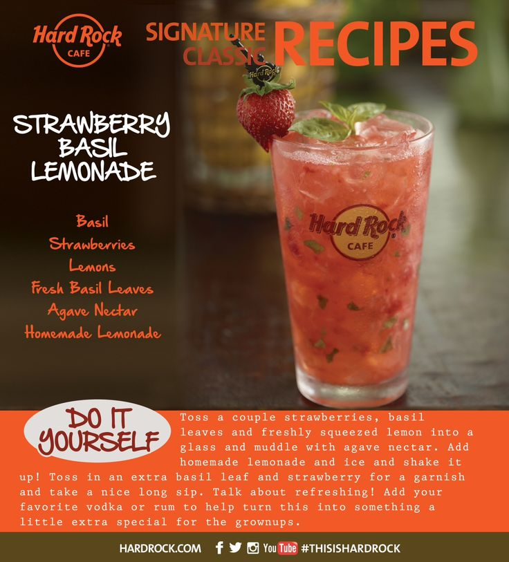 Basil Strawberry Lemons Fresh Basil Leaves Agave Nectar Homemade Lemonade #ThisisHardRock #RocktailClub