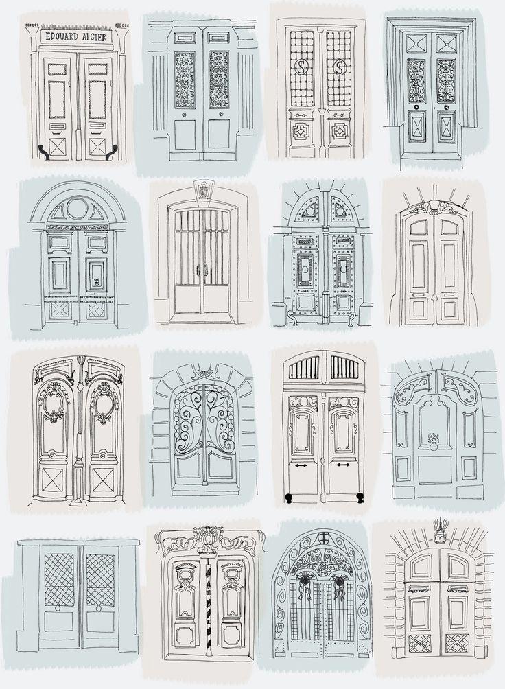 Architekturzeichnungen der Türen von Annie Standard