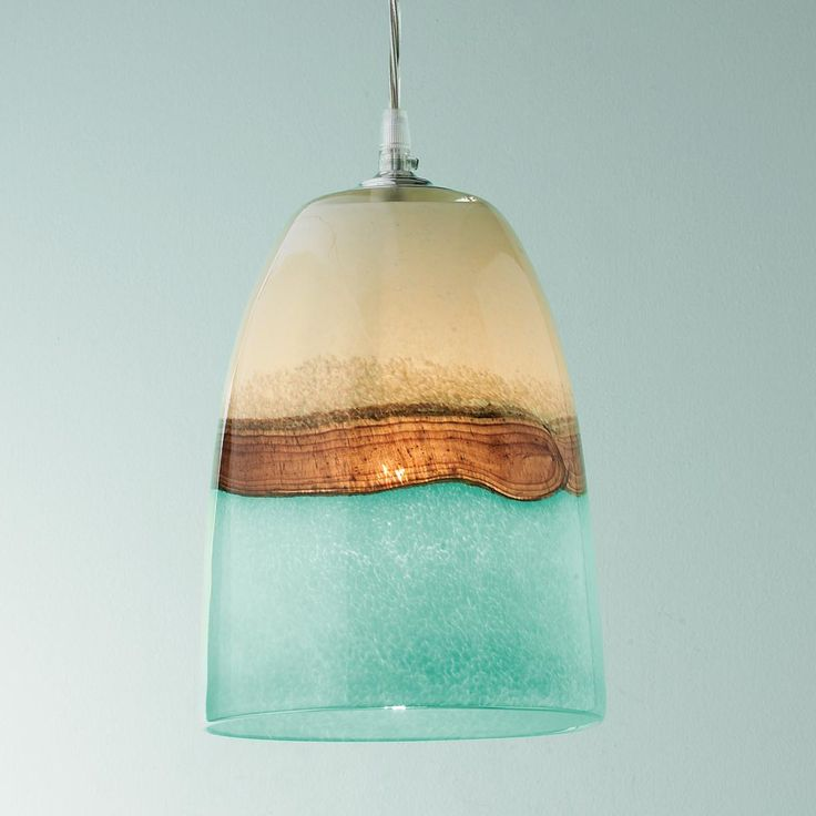 Strata Art Glass Pendant Light Earth, sea and clouds seem to unite in this brown, aqua, and cream art glass pendant light. Its breathtaking beauty is not fully realized until lit!  Aqua Beach decor / Turquoise coastal lighting ideas