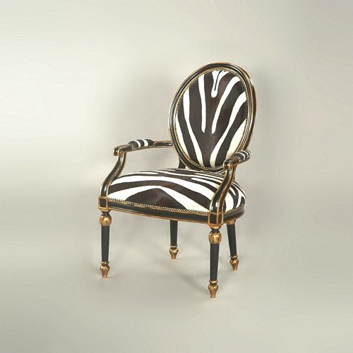black lacquer finished occasional chair with gold accents zebra hair hide uph furniture. Black Bedroom Furniture Sets. Home Design Ideas
