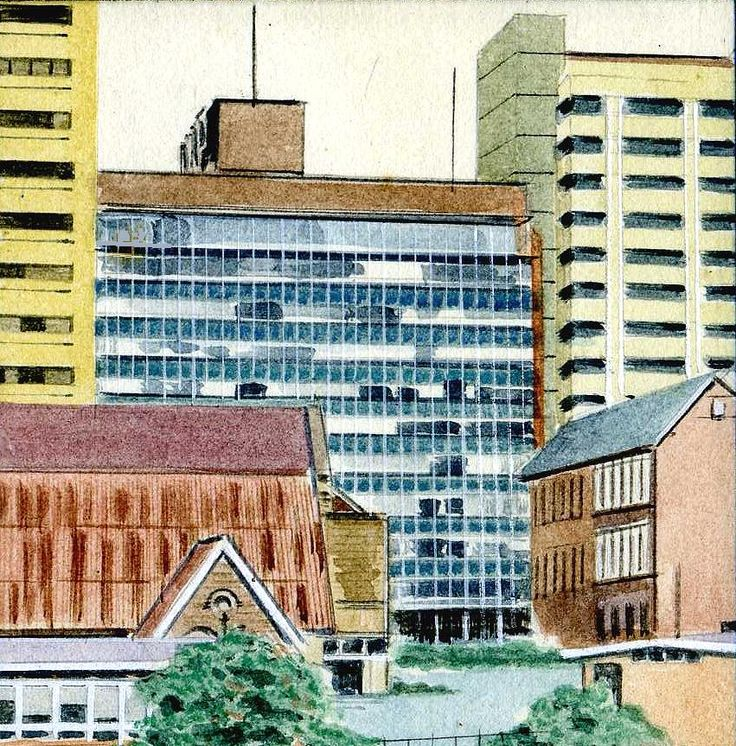 I painted this from the top of the buildding I was working in, all I could see was more office blocks and the roof of a church (I think). I was quite pleased with it as it opened up a completely new way of expressing my art.