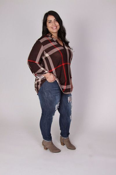 Plus Size Clothing for Women - Jessica Kane Plus Size Plaid Top - Brown (Sizes 16 - 22) - Society+ - Society Plus - Buy Online Now!