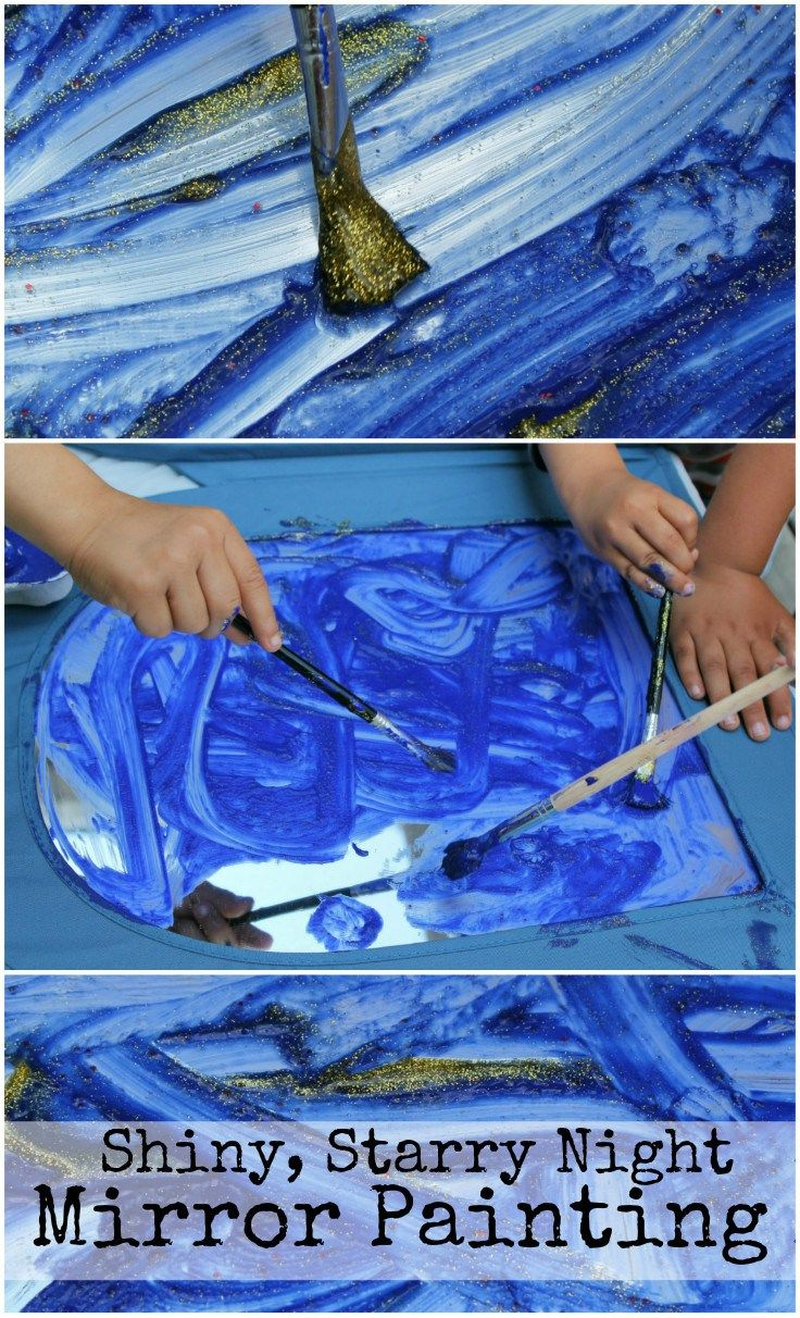 Shiny starry night mirror painting. This is so fun! Calming and beautiful sensory painting activity for kids