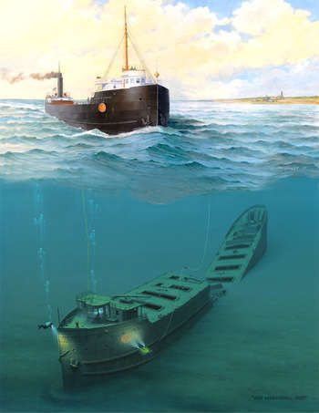 Above and Below ... the John B. Cowle, sank in Lake Superior on July 19, 1909, after colliding in a dense fog with the Issac M. Scott.