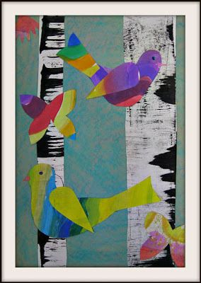 Lois Ehlert inspired bird collages using painted paper