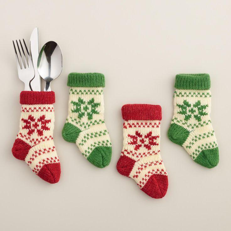 Snowflake mini stocking utensil holders set of