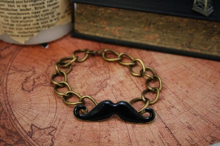 Zwart met bronzen snorren (mustache) armband A0047
